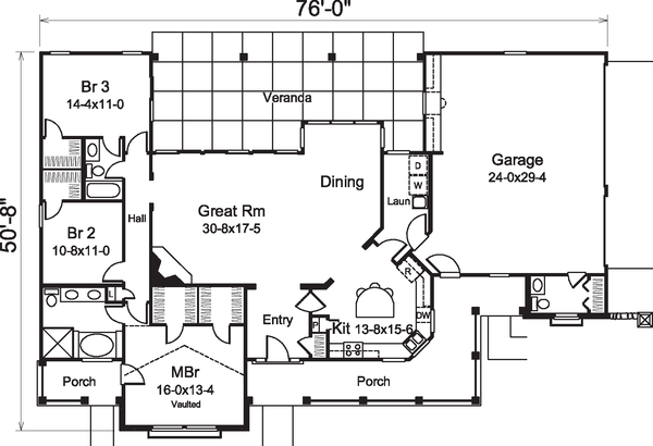 Contemporary Floor Plan - Main Floor Plan Plan #57-583