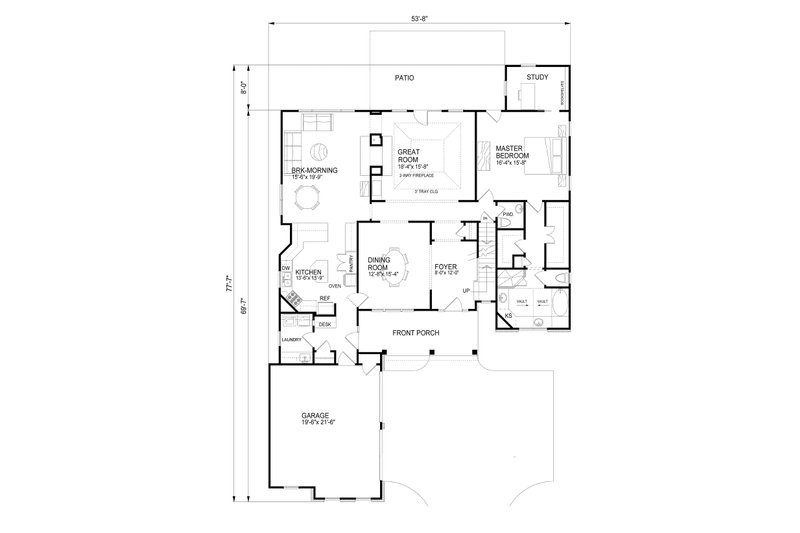 Country Floor Plan - Main Floor Plan Plan #30-343