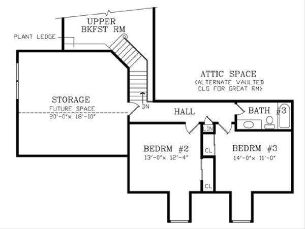 Southern Floor Plan - Upper Floor Plan Plan #456-4
