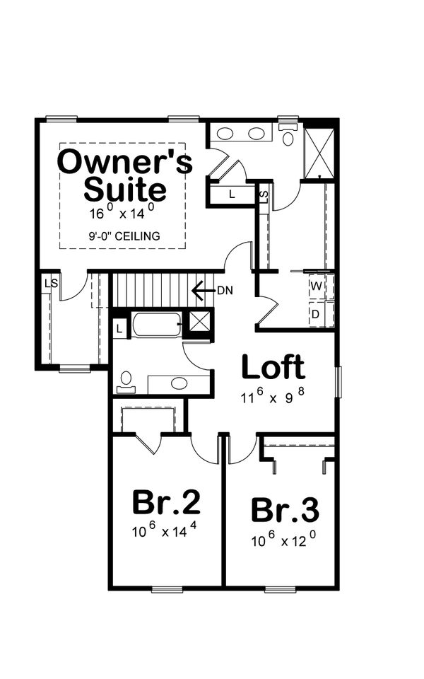 House Plan Design - Farmhouse Floor Plan - Upper Floor Plan #20-2427