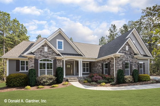 Nice Stone Accents, Decorative Shutters, And A Picturesque Central Entry Porch  Are Just A Few Of The Details Youu0027ll Love In This Handsome Cottage Design  (plan ...