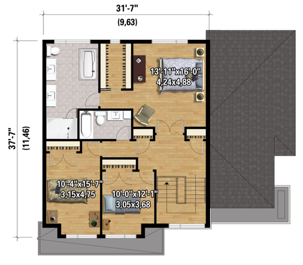Contemporary Floor Plan - Upper Floor Plan Plan #25-4280
