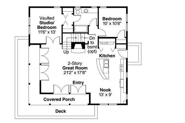 Craftsman Floor Plan - Main Floor Plan Plan #124-1149