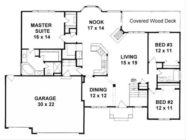 Ranch Floor Plan - Main Floor Plan Plan #58-198