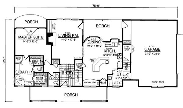 Country Floor Plan - Main Floor Plan #40-370