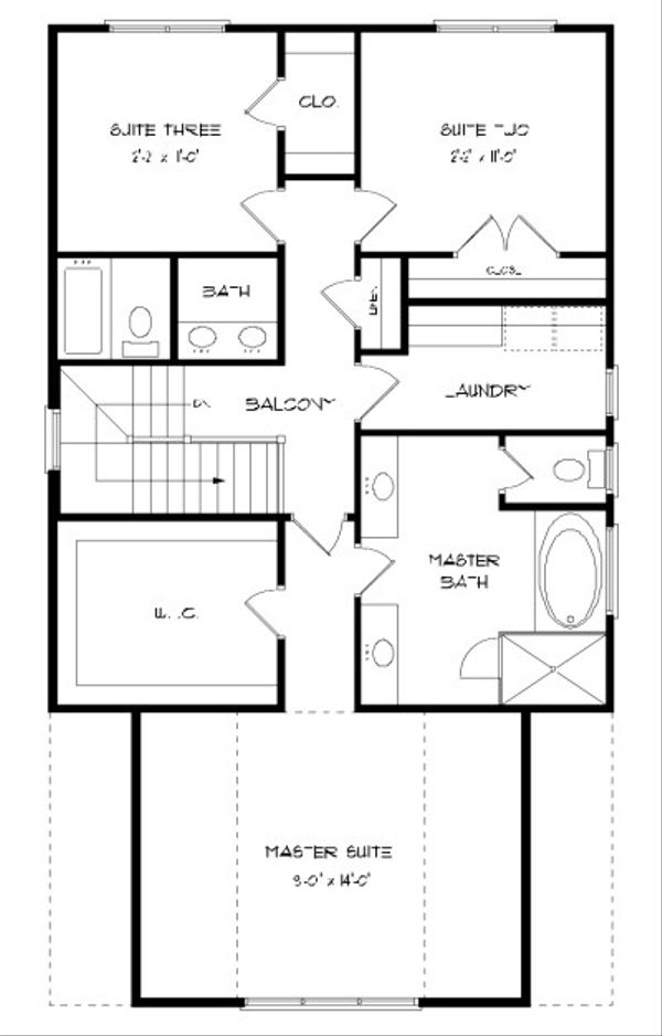 Tudor Floor Plan - Upper Floor Plan Plan #413-873