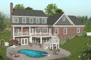 Craftsman Style House Plan - 4 Beds 4.5 Baths 2493 Sq/Ft Plan #56-584 Exterior - Rear Elevation