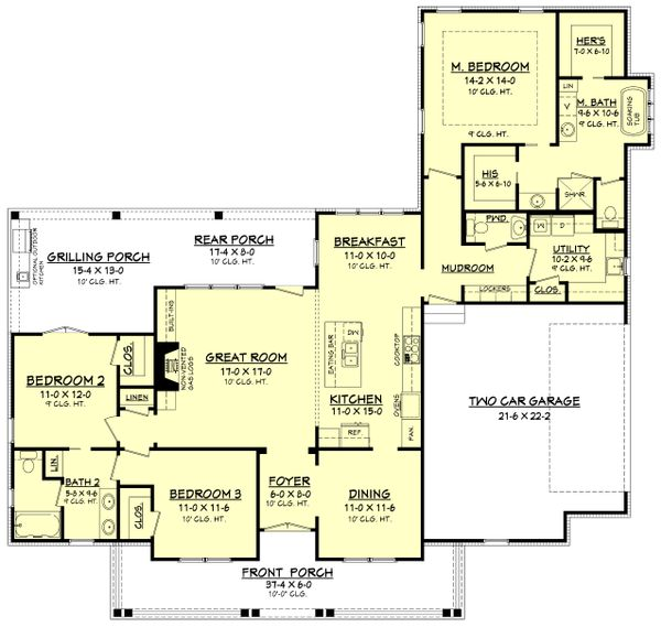 Architectural House Design - Farmhouse Floor Plan - Main Floor Plan #430-163