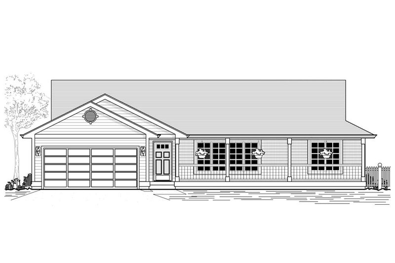 Country Style House Plan - 3 Beds 2.5 Baths 1563 Sq/Ft Plan #53-384 Exterior - Front Elevation