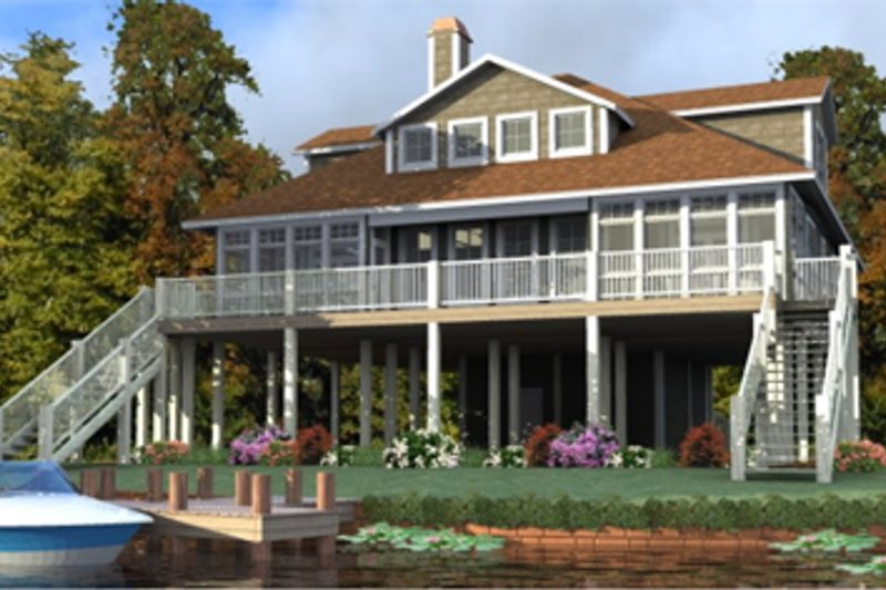 Beach Style House Plan - 3 Beds 3.5 Baths 2327 Sq/Ft Plan #63-355 Exterior - Front Elevation