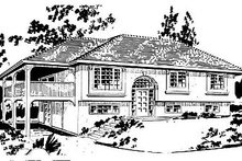 House Blueprint - European Exterior - Front Elevation Plan #18-302