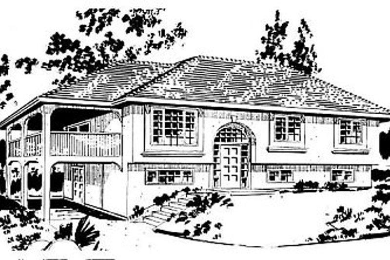 House Blueprint - European Exterior - Front Elevation Plan #18-302