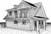 Log Style House Plan - 2 Beds 2 Baths 1427 Sq/Ft Plan #451-12 Exterior - Rear Elevation