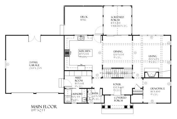 Colonial Floor Plan - Main Floor Plan Plan #901-86