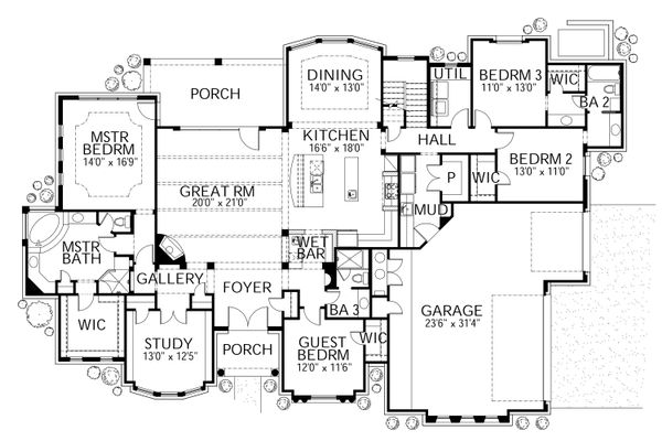 Mediterranean Floor Plan - Main Floor Plan Plan #80-206