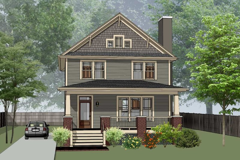 Craftsman Style House Plan - 3 Beds 2.5 Baths 1811 Sq/Ft Plan #79-266 Exterior - Front Elevation