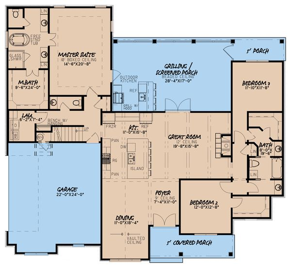 Architectural House Design - Craftsman Floor Plan - Main Floor Plan #923-65