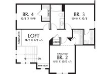 Craftsman Floor Plan - Upper Floor Plan Plan #48-660