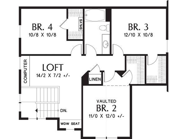 Craftsman Floor Plan - Upper Floor Plan Plan #48-660
