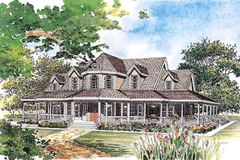 Country, Victorian Style home, front elevation
