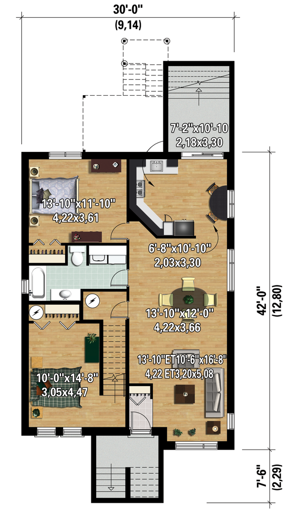 Contemporary Floor Plan - Lower Floor Plan Plan #25-4356