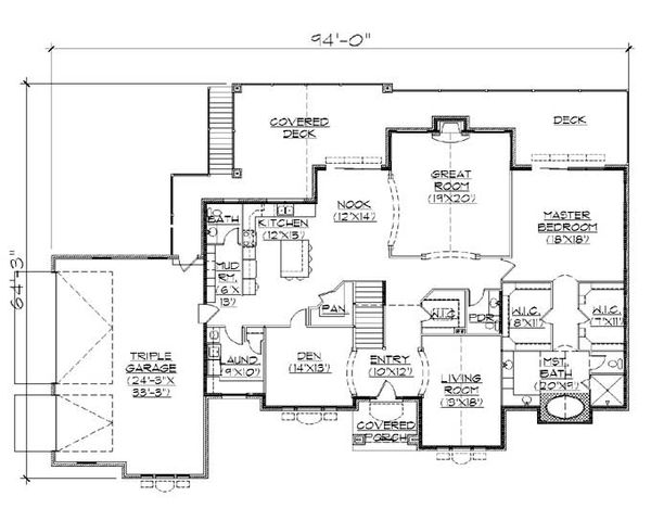 Traditional Floor Plan - Main Floor Plan Plan #5-322