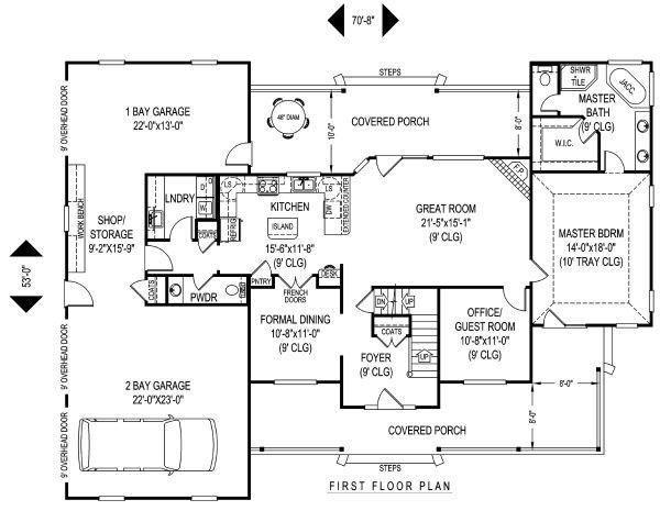 Home Plan - Farmhouse Floor Plan - Main Floor Plan #11-227