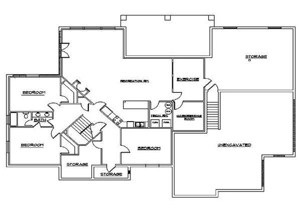Traditional Floor Plan - Lower Floor Plan Plan #5-167