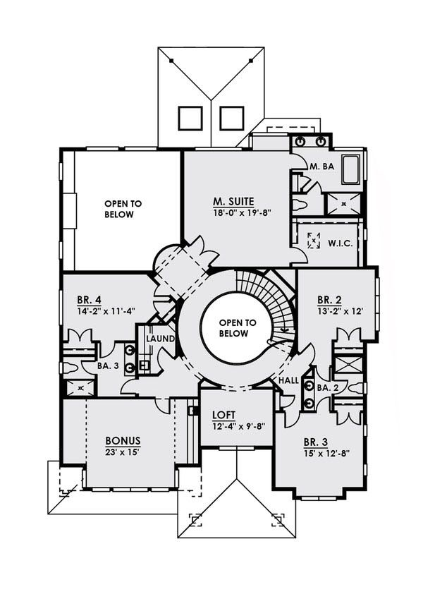 Contemporary Floor Plan - Upper Floor Plan Plan #1066-21