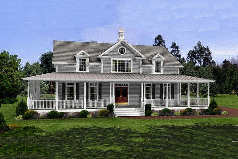 Farmhouse Style House Plan - 3 Beds 2.5 Baths 2098 Sq/Ft Plan #56-238 Exterior - Front Elevation