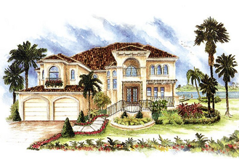 Mediterranean Style House Plan - 4 Beds 4 Baths 3448 Sq/Ft Plan #27-206 Exterior - Front Elevation