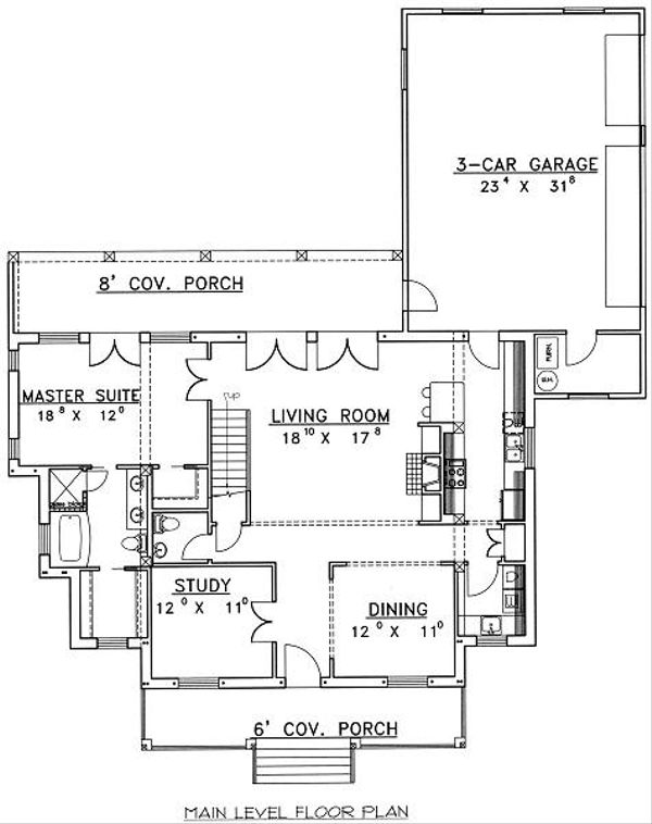European Floor Plan - Main Floor Plan Plan #117-520