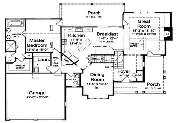 European Floor Plan - Main Floor Plan Plan #46-477