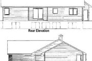 Ranch Style House Plan - 2 Beds 2 Baths 1244 Sq/Ft Plan #58-123 Exterior - Rear Elevation