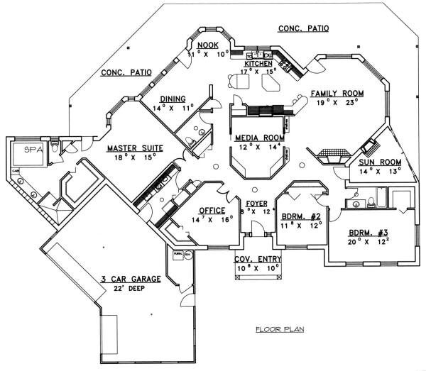 Bungalow Floor Plan - Main Floor Plan Plan #117-558