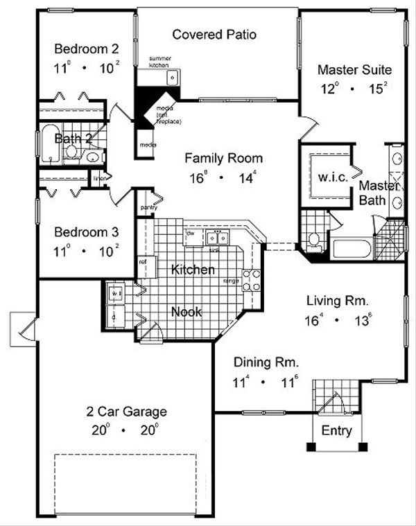 Mediterranean Floor Plan - Main Floor Plan Plan #417-124