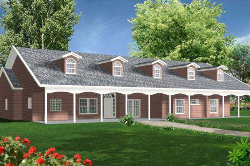 Southern Style House Plan - 4 Beds 3 Baths 2837 Sq/Ft Plan #1-697 Exterior - Front Elevation