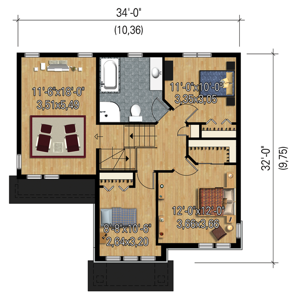 Traditional Floor Plan - Upper Floor Plan Plan #25-4663