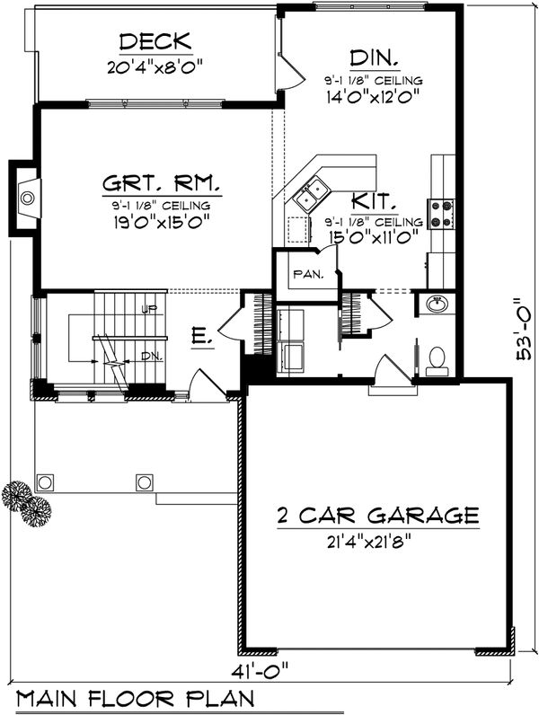 Bungalow Floor Plan - Main Floor Plan Plan #70-1069