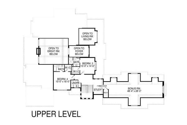 Craftsman Floor Plan - Upper Floor Plan Plan #920-42