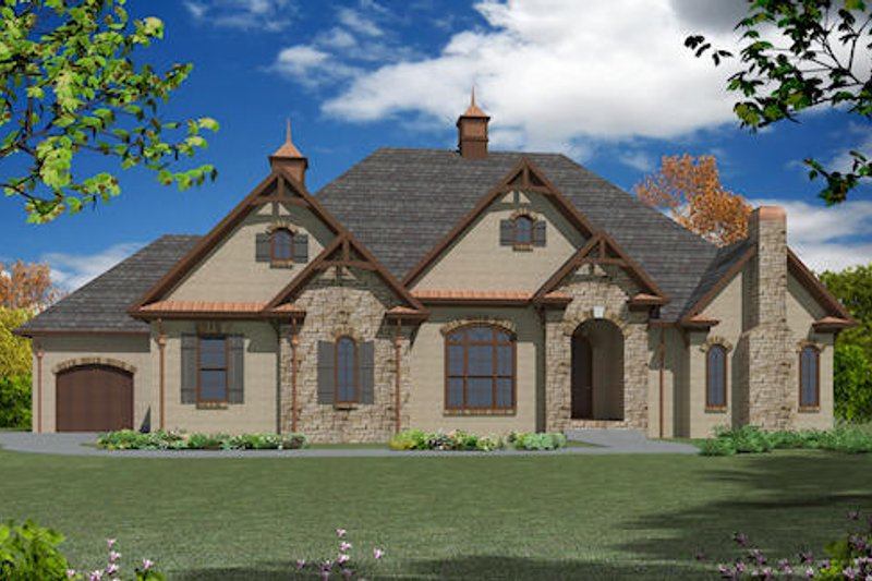 European Exterior - Front Elevation Plan #437-21 - Houseplans.com