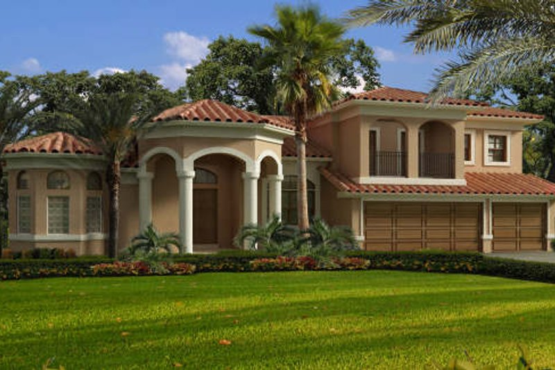Mediterranean Style House Plan - 5 Beds 5 Baths 4011 Sq/Ft Plan #420-289 Exterior - Front Elevation