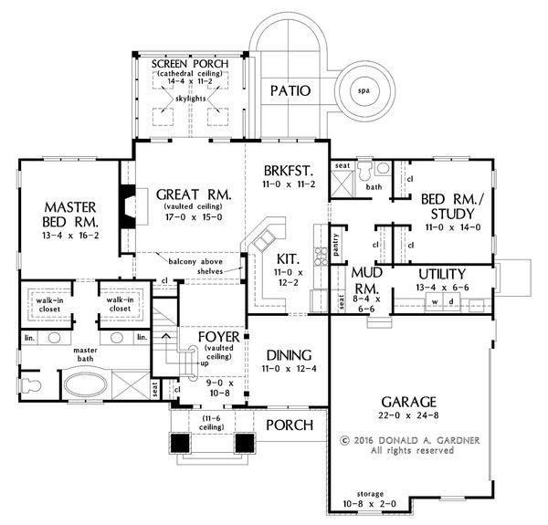 European Floor Plan - Main Floor Plan #929-1022