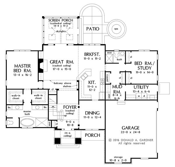 European Floor Plan - Main Floor Plan Plan #929-1022
