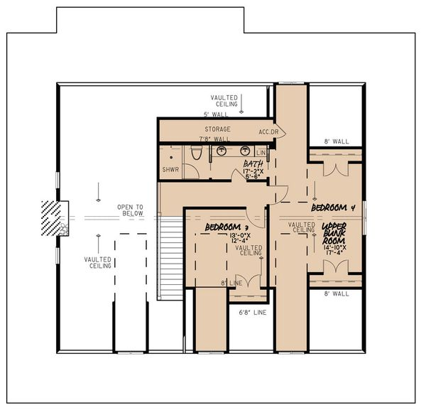 Architectural House Design - Country Floor Plan - Upper Floor Plan #923-30
