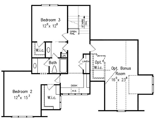 Traditional Floor Plan - Upper Floor Plan Plan #927-6