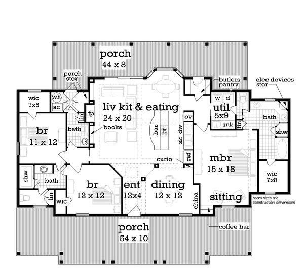 Dream House Plan - Southern Floor Plan - Main Floor Plan #45-376