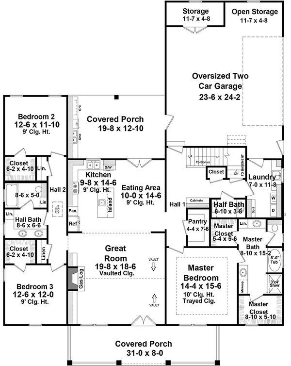 Architectural House Design - Country Floor Plan - Main Floor Plan #21-445