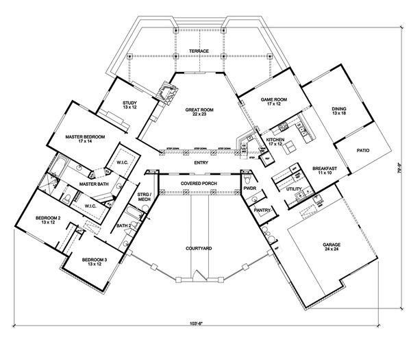 Country Floor Plan - Main Floor Plan Plan #140-159