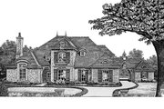 European Style House Plan - 4 Beds 4 Baths 3162 Sq/Ft Plan #310-431 Exterior - Front Elevation